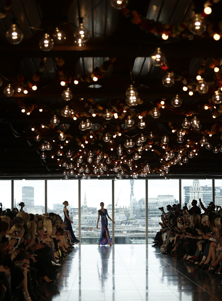 Photo -   A model wears a creation by Matthew Williamson for his Spring/Summer 2013 collection at London Fashion Week in London, Sunday, Sept. 16, 2012. (AP Photo/Alastair Grant)