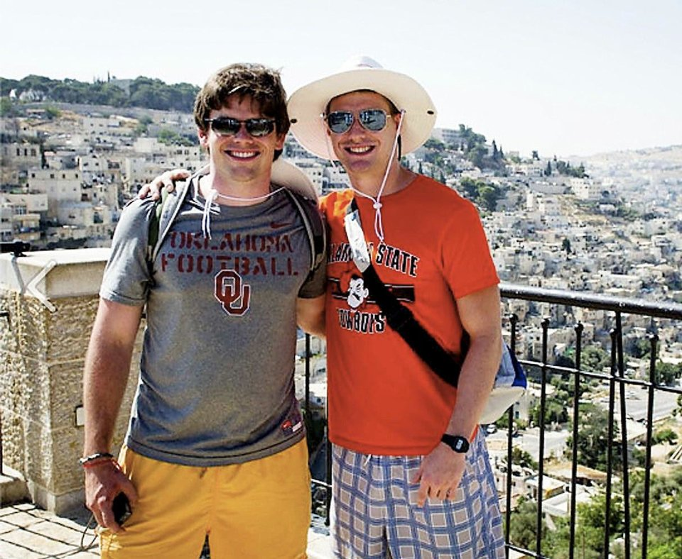 Photo - Oklahomans Jack Randolph, left, and Curran Banning Fudge are shown on a balcony in Tel Aviv.