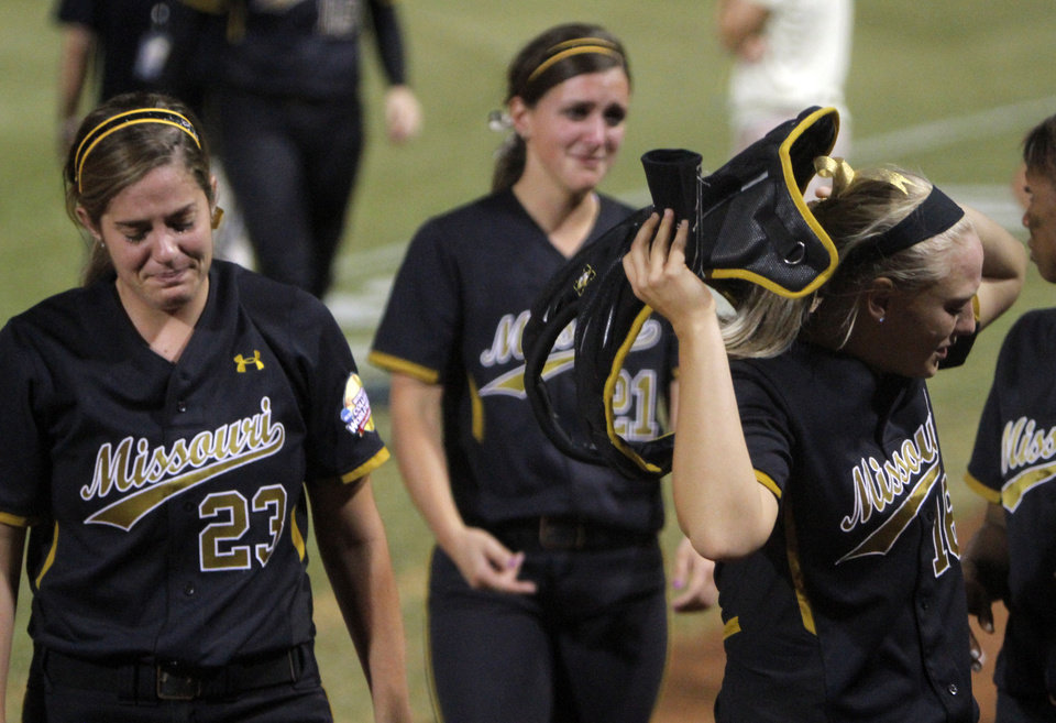 Missouri reacts after losing to Baylor during the Women's College World Series game between Baylor and Missouri at the ASA Hall of Fame Stadium in Oklahoma City, Sunday, June 5, 2011. Photo by Sarah Phipps, The Oklahoman