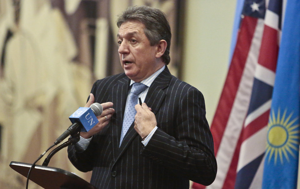 Photo - Ukraine's U.N. Ambassador Yuriy Sergeyev speaks during a news conference, as the the U.N. Security Council meets privately on Friday, Feb. 28, 2014, at United Nation headquarters. Sergeyev told reporters Friday outside the council that neither major airport in Crimea is under national control and that the main airport was