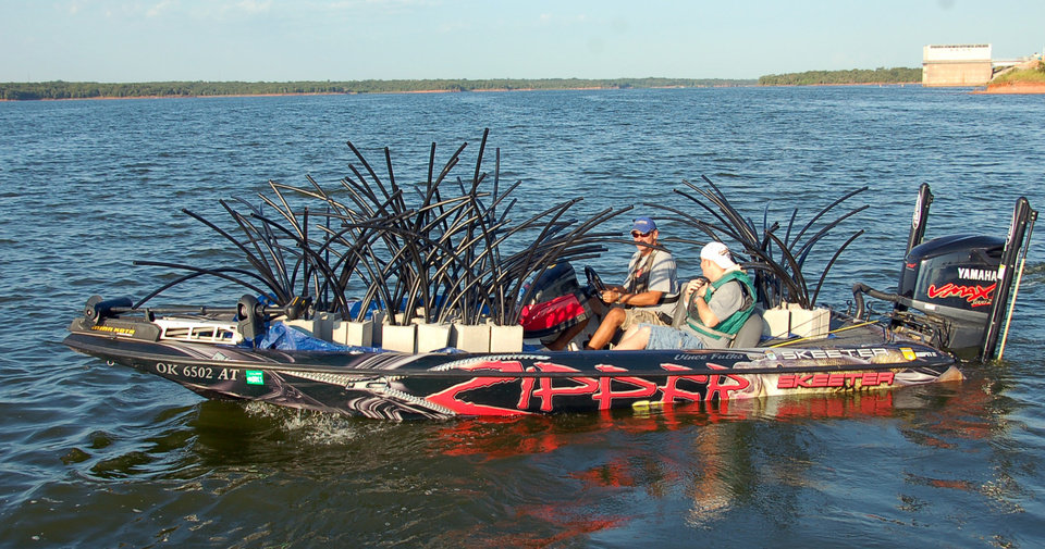 "Photo -  ""Spider blocks"" were recently put in Lake Thunderbird to attract fish."