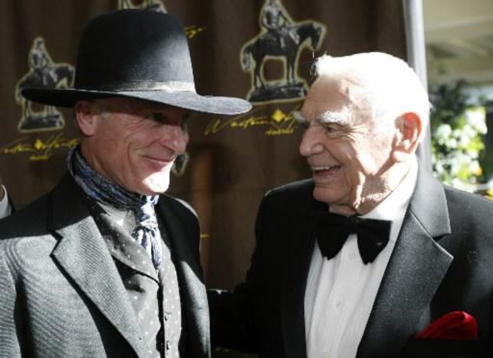Photo - Ed Harris, left, and Ernest Borgnine are shown before the Western Heritage Awards at the National Cowboy & Western Heritage Museum.  Photo by Sarah Phipps, The Oklahoman       ORG XMIT: 1104300210511068