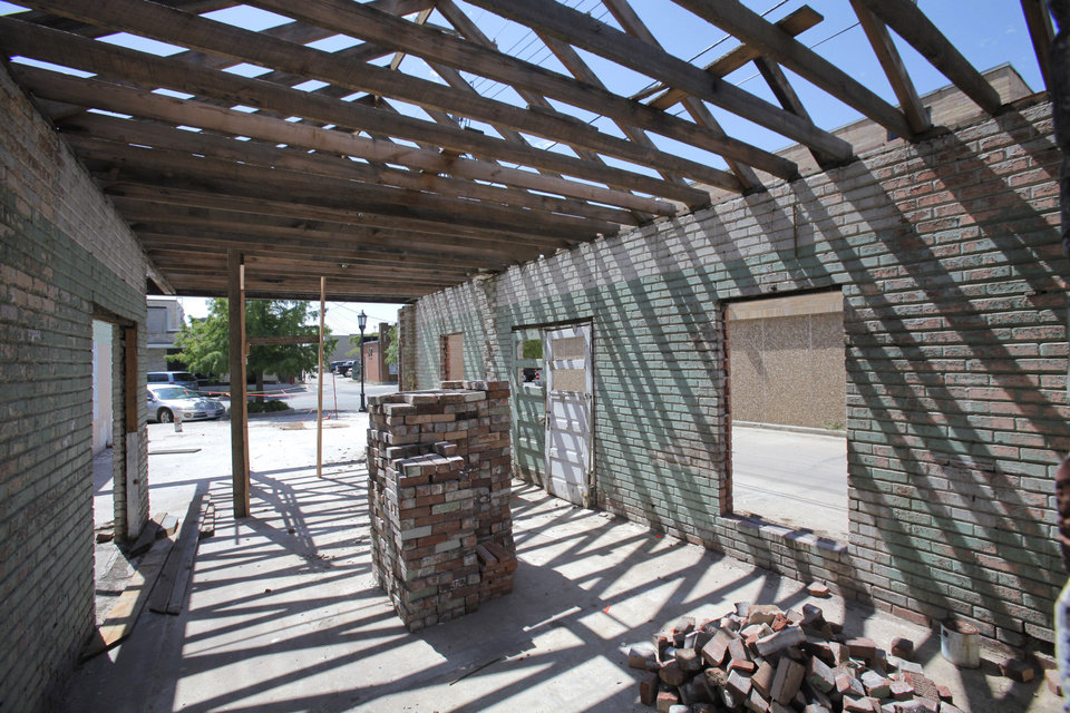 Barry Rice is restoring parts of the old interurban depot he owns at 9 E First St. in downtown Edmond. He says he probably will landscape the space and leave it as an open-air pavilion. <strong>David McDaniel - The Oklahoman</strong>