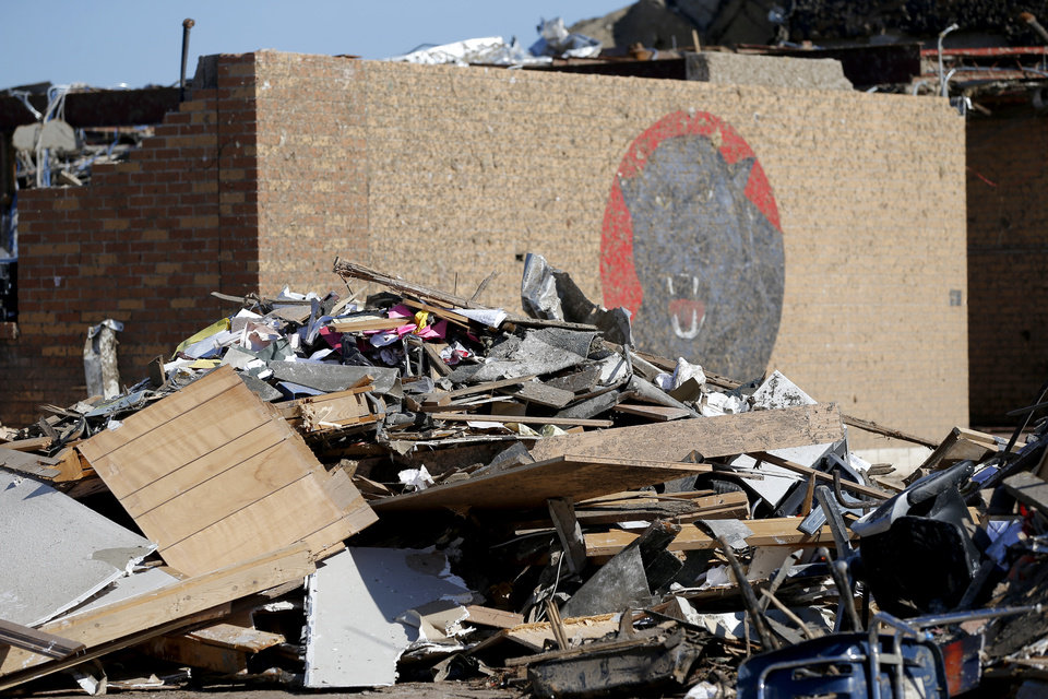 Damage to the Plaza Towers Elementary School in Moore, Okla., on Tuesday, May 22, 2013. A tornado hit the area on Monday, May 20, 2013. Photo by Bryan Terry, The Oklahoman