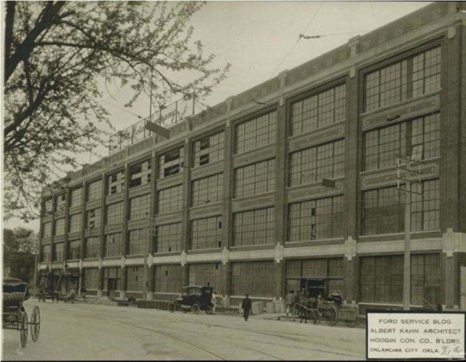 Photo -  The north W Main Street elevation of the former Fred Jones Manufacturing Co. plant is shown in this 1916 photograph when it was first opened as a Ford Motor Co. assembly plant. Courtesy Collections of Henry Ford