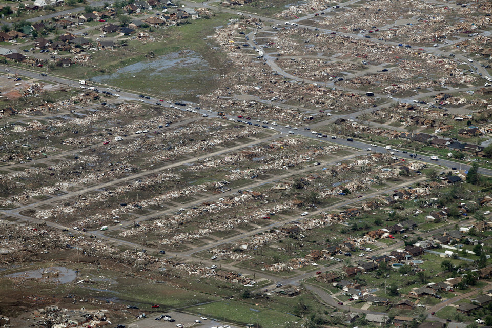 Photo - A half mile wide swath was cut through this neighborhood by the May 20th tornado in Moore, OK, Tuesday, May 21, 2013,  By Paul Hellstern, The Oklahoman