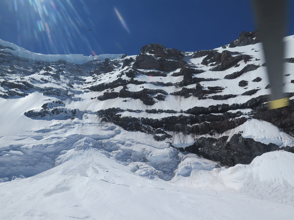 Photo - This photo provided by the National Parks Service, shows the Liberty Ridge Area of Mount Rainier as viewed from the Carbon Glacier, Saturday, May 31, 2014, in Washington state. Six climbers missing on Mount Rainier are presumed dead after helicopters detected pings from emergency beacons buried in the snow thousands of feet below their last known location, a national park official said Saturday. (AP Photo/National Park Service)