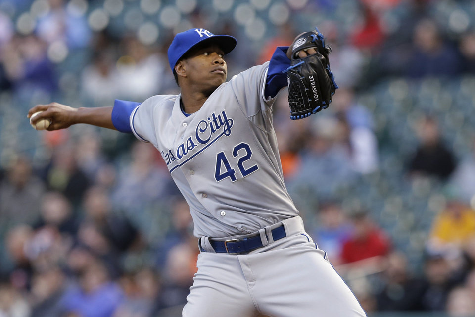 Photo - Kansas City Royals' Yordano Ventura delivers a pitch against the Houston Astros in the first inning of a baseball game Tuesday, April 15, 2014, in Houston. All the players on both teams are wearing jerseys with No. 42 to honor Jackie Robinson. (AP Photo/Pat Sullivan)