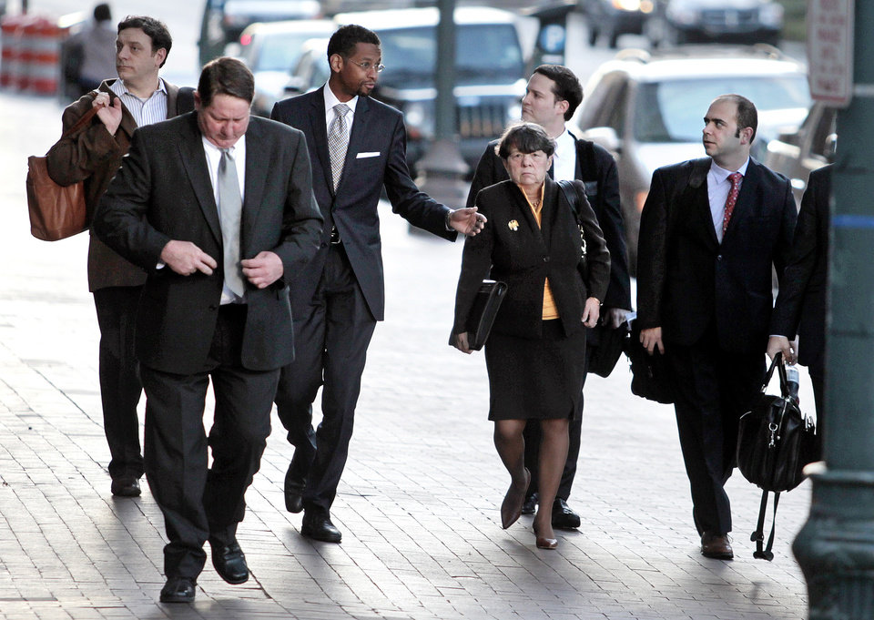 NFL attorney Mary Jo White, center, arrives with a team of attorneys for appeal hearings in the league's bounty investigation of the New Orleans Saints football team, Monday, Dec. 3, 2012, in New Orleans. (AP Photo/The Times-Picayune, Ted Jackson) MAGS OUT; NO SALES; USA TODAY OUT