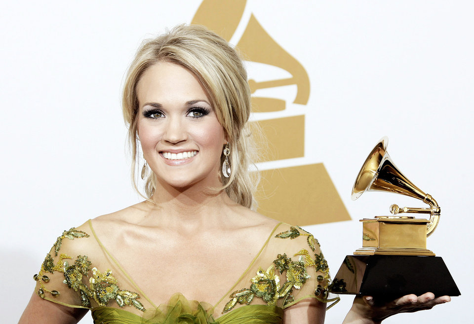 Checotah native Carrie Underwood is shown backstage at the 2009 Grammy Awards in Los Angeles.  AP FILE PHOTO