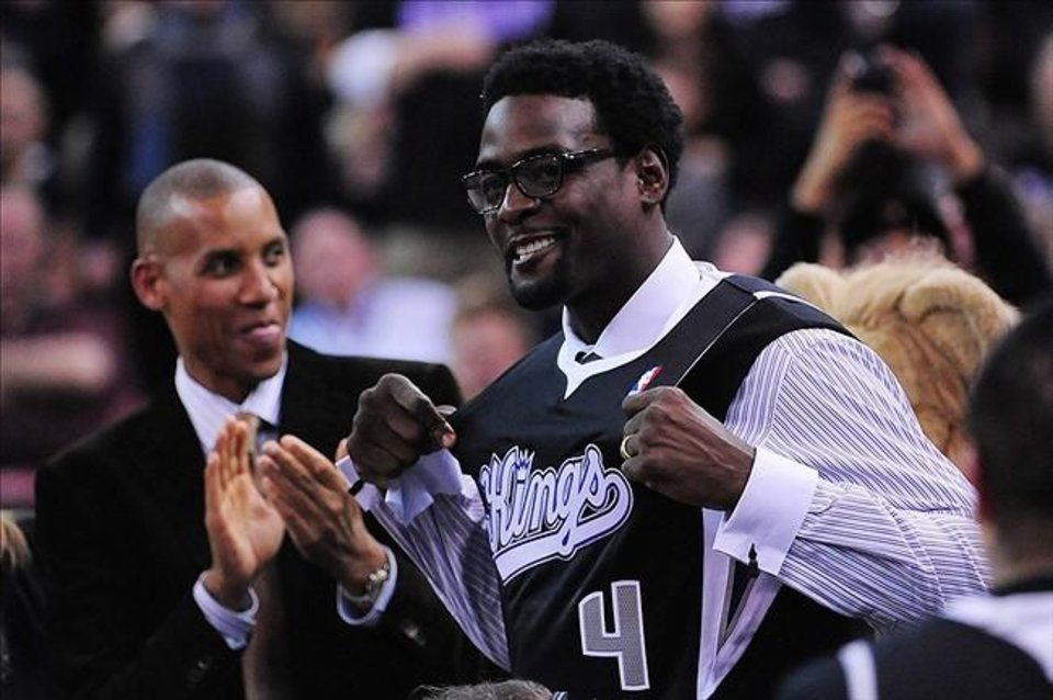 "The Thunder's game at Sacramento on Thursday essentially was ""Chris Webber Night"" on TNT and the Kings responded with a 106-101 victory over OKC. Reggie Miller looks on as Webber receives a commemorative Kings ""black"" jersey."