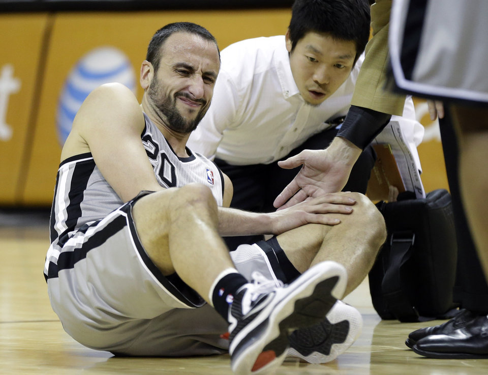 San Antonio Spurs' Manu Ginobili (20), of Argentina, holds his knee after he was injured during the first quarter of an NBA basketball game against the Boston Celtics, Saturday, Dec. 15, 2012, in San Antonio. (AP Photo/Eric Gay) ORG XMIT: TXEG105