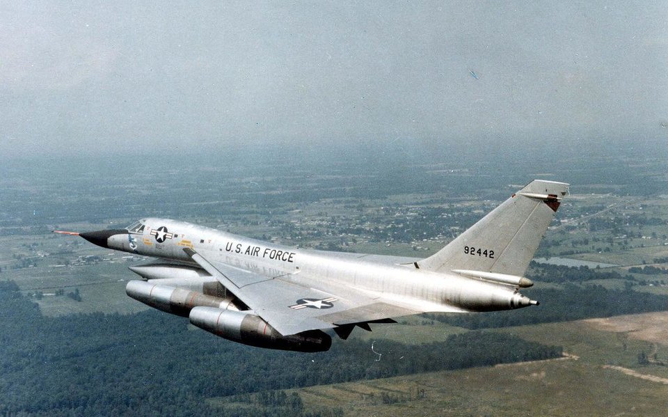 Photo - A B-58 like this one was used during Operation Bongo II, a program that tested the effects of repeated sonic booms over a city. Credit: US Air Force