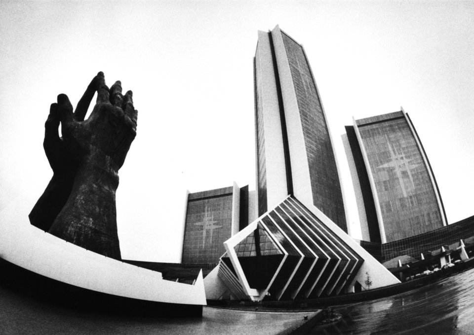 """Wide angle """"Fisheye"""" photo of the City of Faith complex on the campus of Oral Roberts University (ORU) in Tulsa, OK. Staff photo by Jim Beckel taken 10/28/82."""