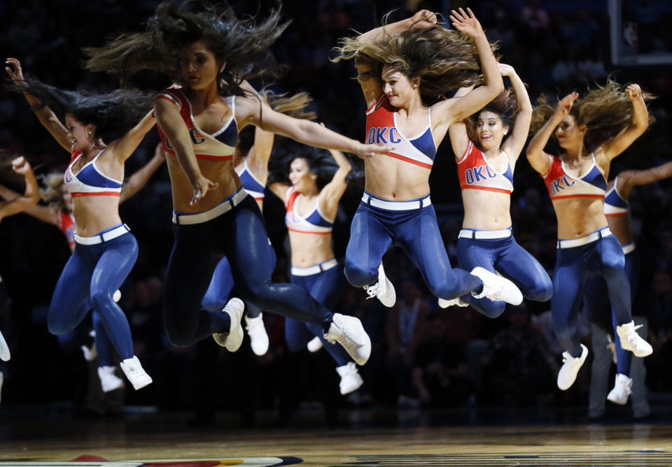 Photo - The Thunder Girls dance team performs during an NBA basketball game between the Indiana Pacers and the Oklahoma City Thunder at Chesapeake Energy Arena in Oklahoma City, Wednesday, Dec. 4, 2019. [Nate Billings/The Oklahoman]