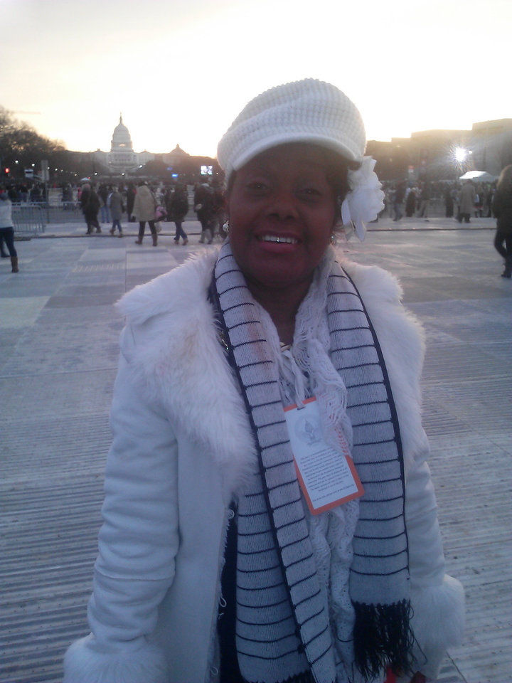 Shirley Driggins of Oklahoma City attends the inaugural festivities in Washington as a volunteer. PHOTO PROVIDED. <strong></strong>
