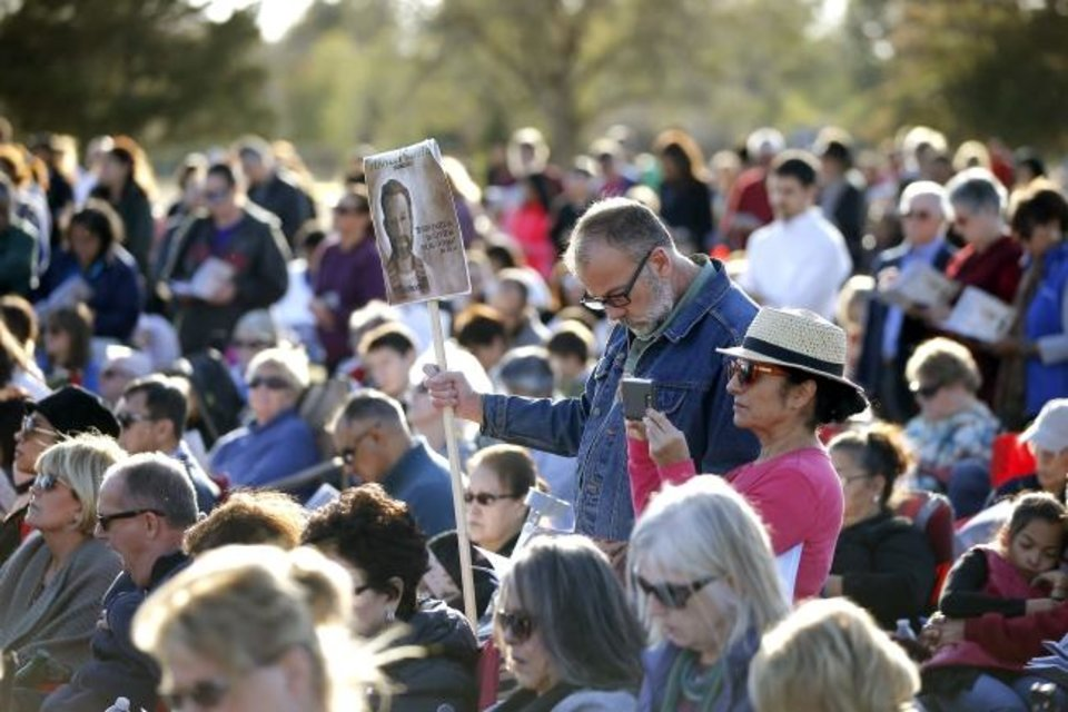 Photo -  A crowd watches Sunday during a groundbreaking for the Blessed Stanley Rother Shrine. [Bryan Terry/The Oklahoman]