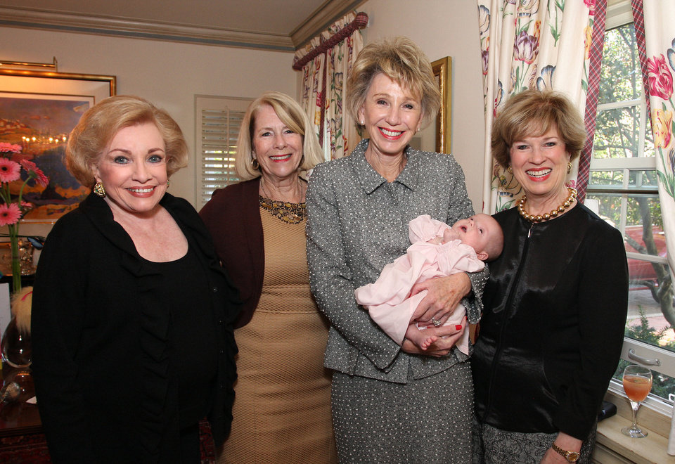 Ann Alspaugh, Kathy Walker, Ann Felton Gilliland holding Ella Lee Cryder, Carol Troy. PHOTO BY DAVID FAYTINGER, FOR THE OKLAHOMAN <strong></strong>