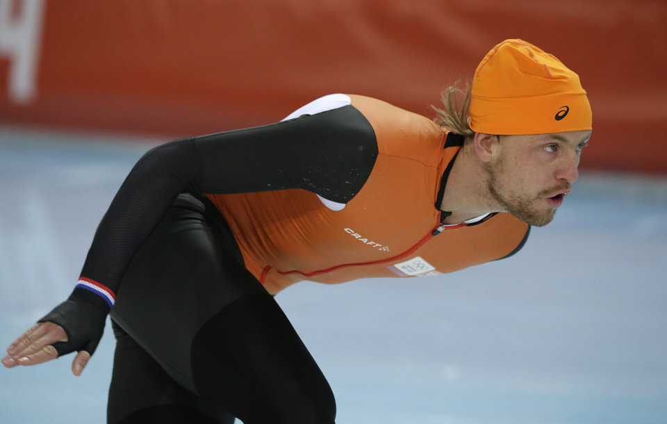 Photo - Ronald Mulder of the Netherlands trains at the Adler Arena Skating Center during the 2014 Winter Olympics in Sochi, Russia, Friday, Feb. 7, 2014. (AP Photo/Matt Dunham)