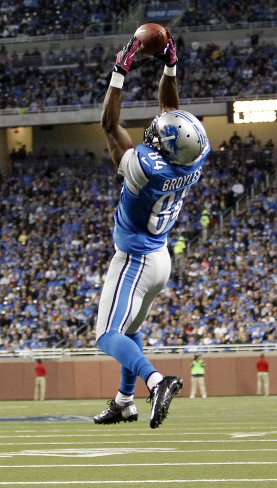Detroit Lions wide receiver Ryan Broyles (84) makes a touchdown catch in the first half of an NFL football game against the Seattle Seahawks, Sunday, Oct. 28, 2012. in Detroit. (AP Photo/Rick Osentoski) <strong>Rick Osentoski</strong>