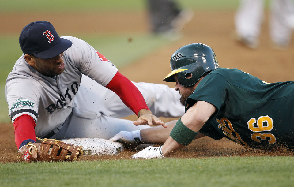 Photo -   Oakland Athletics' Derek Norris (36) slides save back into first base past the tag of Boston Red Sox first baseman James Loney (22) in the third inning of a baseball game Saturday, Sept. 1, 2012 in Oakland, Calif. (AP Photo/ Tony Avelar)