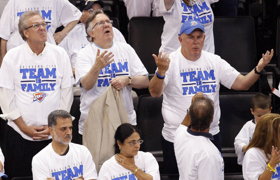 Fans react to a call in the fourth quarter during Game 2 of the NBA Finals between the Oklahoma City Thunder and the Miami Heat at Chesapeake Energy Arena in Oklahoma City, Thursday, June 14, 2012. Photo by Nate Billings, The Oklahoman