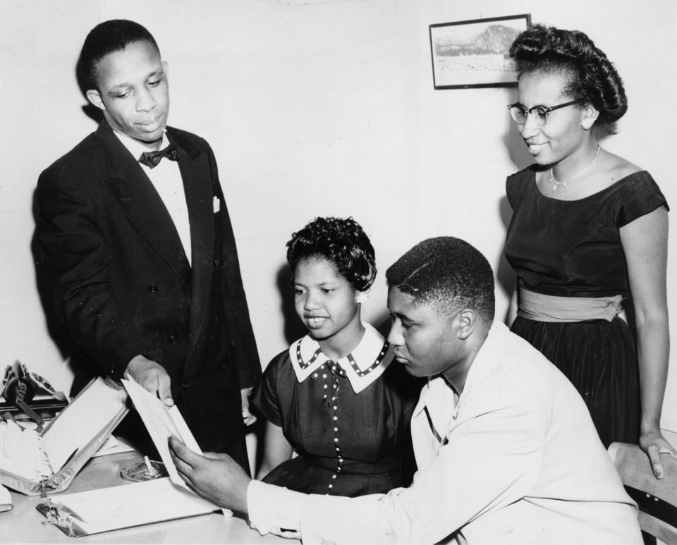 Photo - Mrs. Clara Luper, right, and John White, National Association for Advancement of Colored People (NAACP) state youth director, left, go over the script of Mrs. Luper's play with cast members Maxine Dowdell and William Miles in this 1957 photograph.   Simmon's Studio photo.    (Original photo has no negative date, photo entered library on 5/30/1957, published 8/19/1974 in The Daily Oklahoman)