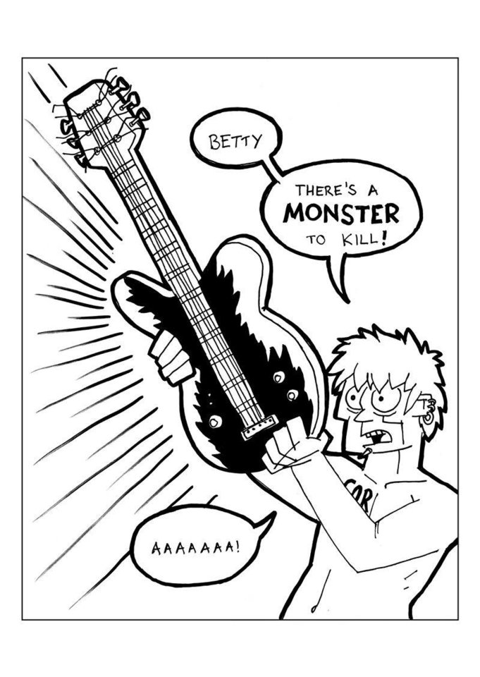 "A page from ""God of Rock"" by Paul Milligan. <strong></strong>"