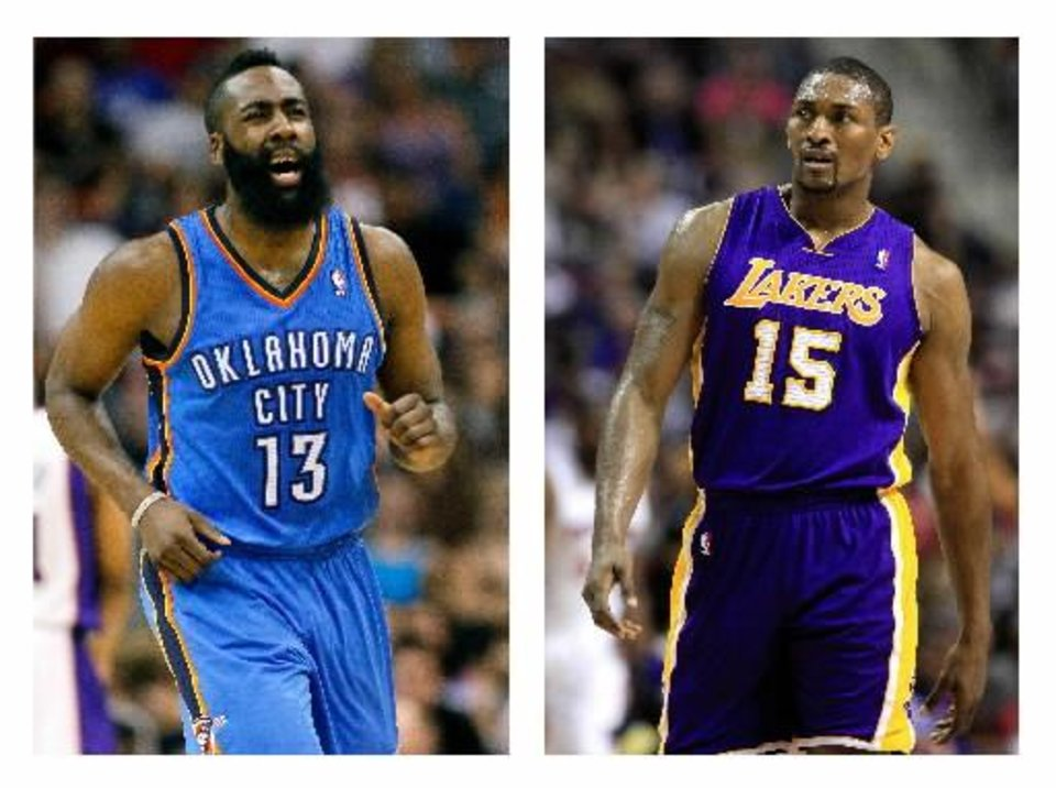 If the Thunder and Lakers make it to the second round, James Harden and Metta World Peace will once again share the court. Could tempers flare?