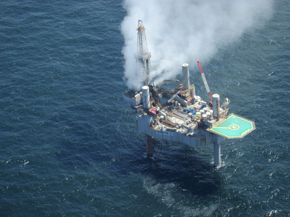 Photo - This photo released by the Bureau of Safety and Environmental Enforcement shows natural gas spewing from the Hercules 265 drilling rig in the Gulf of Mexico off the coast of Louisiana, Tuesday, July 23, 2013. No injuries were reported in the midmorning blowout and there was no fire as of Tuesday evening at the site, about 55 miles off the Louisiana coast in the Gulf of Mexico. (AP Photo/Bureau of Safety and Environmental Enforcement)