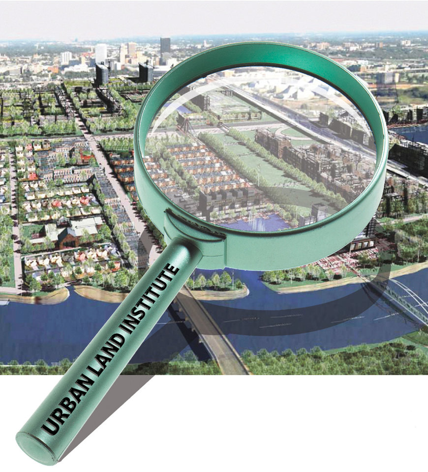 Photo - MAGNIFYING GLASS / URBAN LAND INSTITUTE / GRAPHIC WITH PHOTO: DRAWING: This rendering offers an idea of what city leaders anticipate the area between downtown and the Oklahoma River will look like once it is redeveloped during the next three decades as part of the Core to Shore process. - PROVIDED BY THE CITY OF OKLAHOMA CITY    ILLUSTRATION BY CHRIS SCHOELEN, THE OKLAHOMAN GRAPHICS