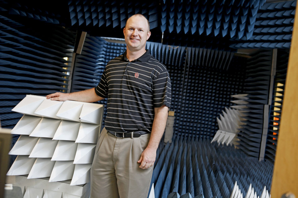 Nathan Goodman stands inside a room Tuesday that was converted into an anechoic chamber inside the National Weather Center on the campus of the University of Oklahoma in Norman.  Photo by Bryan Terry, The Oklahoman