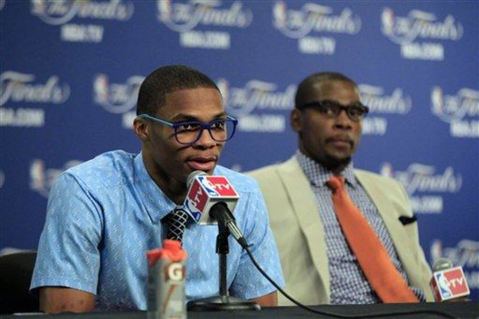 Kevin Durant and Russell Westbrook are pioneers in the NBA's style movement. / AP photo by Sue Ogrocki