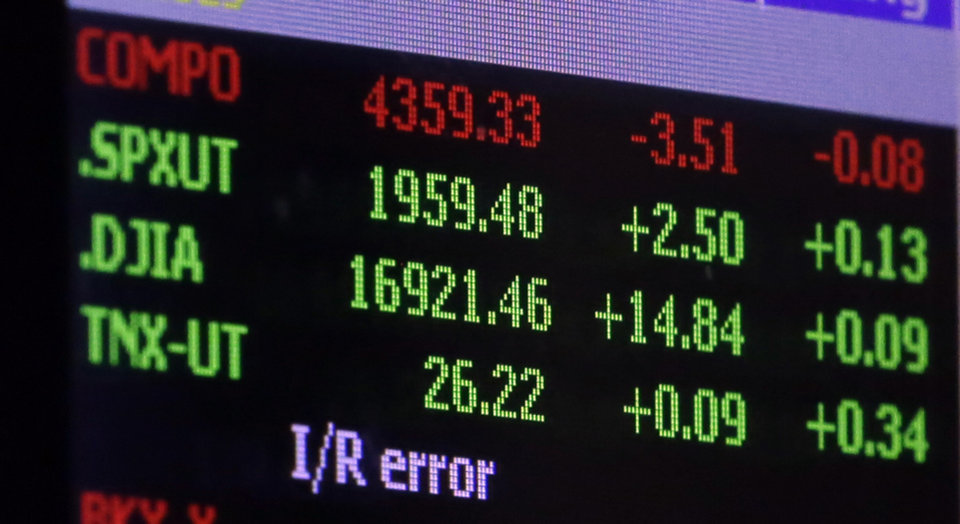 Photo - In this Thursday, June 19, 2014 photo, a board above the trading floor at the New York Stock Exchange shows that day's closing number for the Dow Jones Industrial Average, 16921.46, and the Standard and Poor's 500, 1959.48, in New York. After treading water for most of March and April, stocks are nudging deeper into record territory and are closing in on milestones with big zeros attached to them. (AP Photo/Richard Drew)
