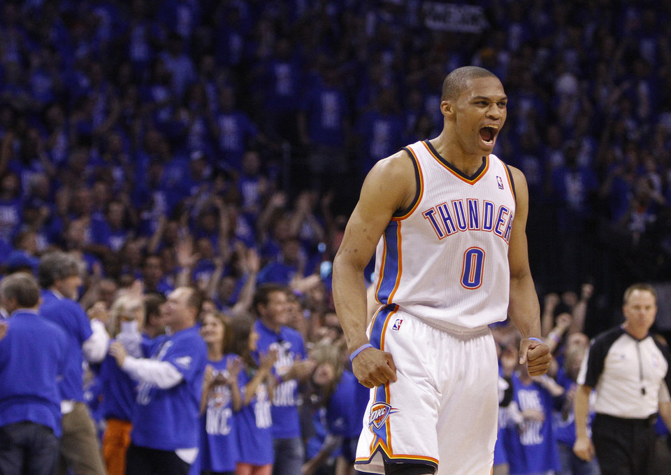 Oklahoma City\'s Russell Westbrook (0) celebrates during Game 3 of the Western Conference Finals between the Oklahoma City Thunder and the San Antonio Spurs in the NBA playoffs at the Chesapeake Energy Arena in Oklahoma City, Thursday, May 31, 2012. Photo by Sarah Phipps, The Oklahoman