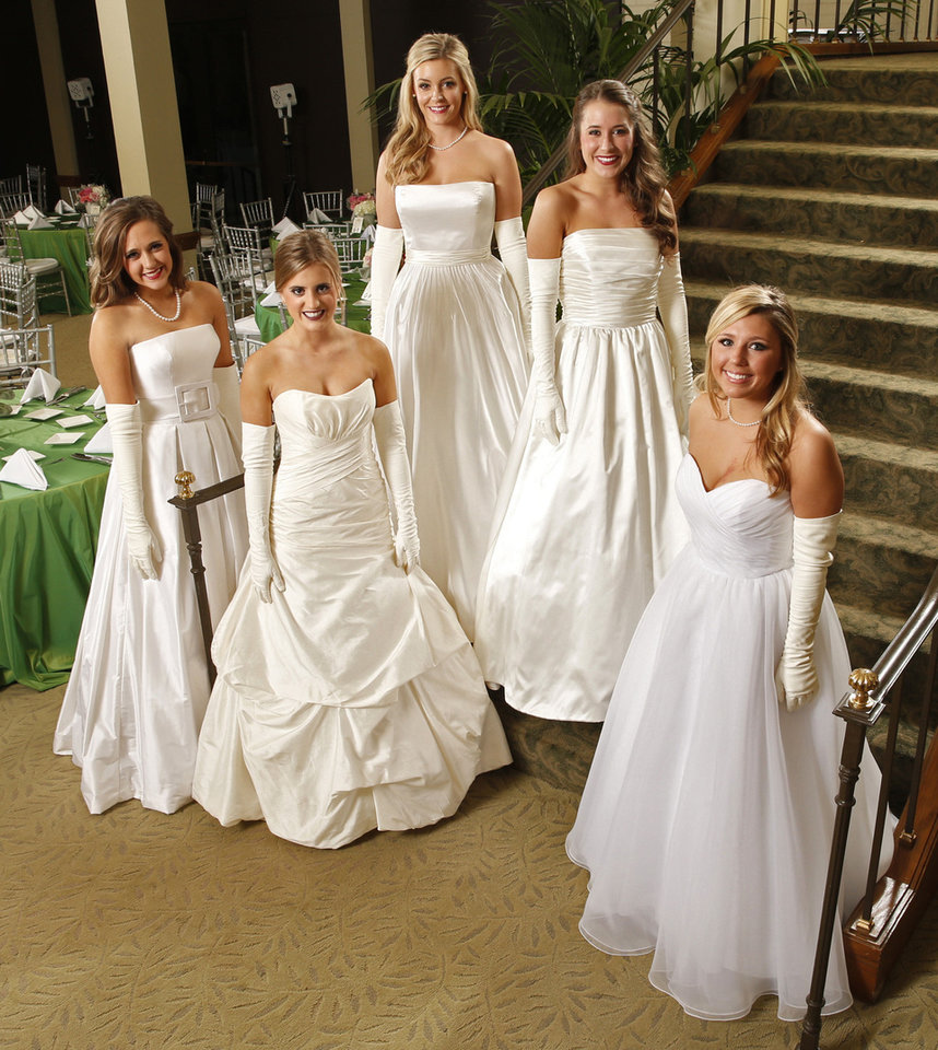 Photo - Debutantes of the Beaux Arts Ball Madison Kate Mueller, Caroline Ann Franklin, Allison Cook Hall, Laura Louise Joullian and Emily Elizabeth Ellis are seen on Saturday, Nov. 30, 2013, in Oklahoma City Okla.  Photo by Steve Sisney, The Oklahoman  STEVE SISNEY - THE OKLAHOMAN