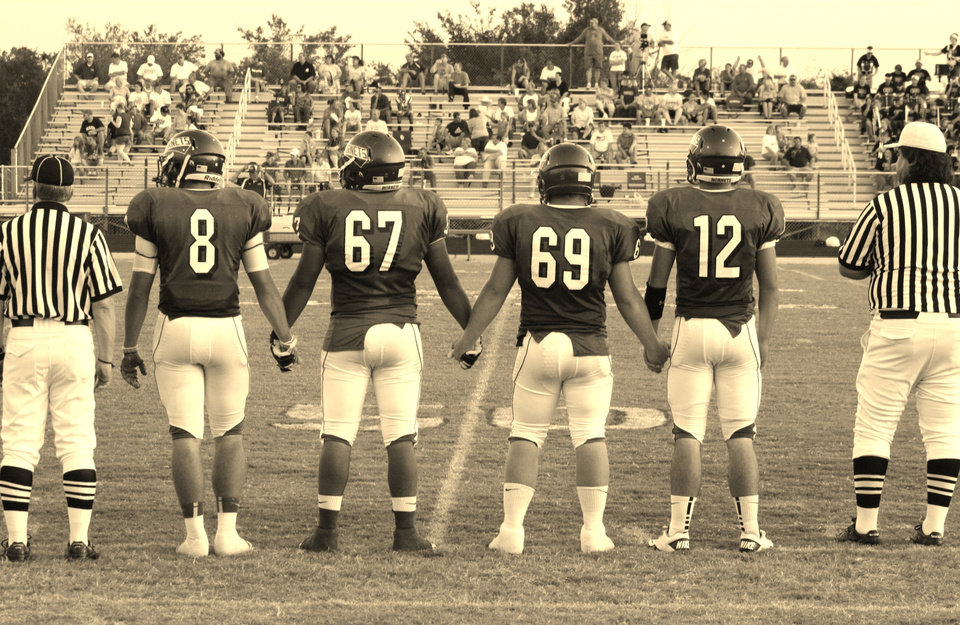 Photo - Vinita Hornets\' Captains, ready to take the field, Nash Chamberlain #8, Jeremiah Nelson #67, Kolbi Phillips #69, and Jake Roach #12