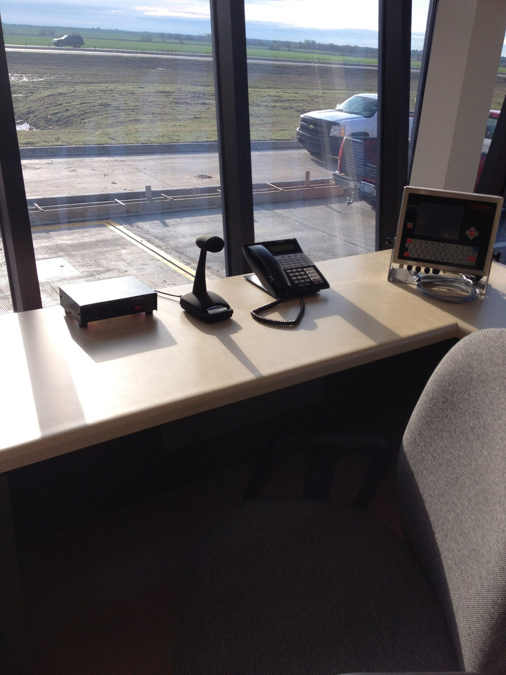 Photo - A weigh station officer's post in the new port of entry facility in northern Oklahoma.   - PROVIDED