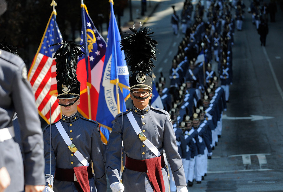 Photo -   Members of Riverside Military Academy from Gainesville, Ga., march down Baker Street during the 31st annual Veterans Day Parade in Atlanta, Saturday, Nov. 10, 2012. (AP Photo/David Tulis)