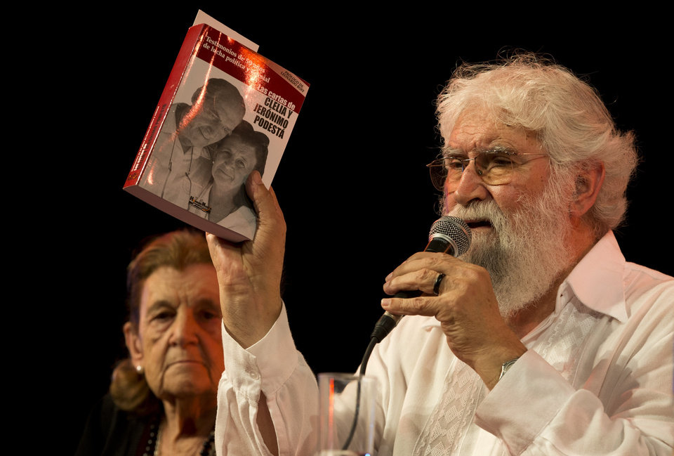 """Photo - Liberation Theologist Leonardo Boff, of Brazil, speaks at a book fair during the launching of a book by Clelia Luro, the wife of former bishop Jeronimo Podesta, in Buenos Aires, Argentina, Saturday, April 27, 2013.  Liberation theologist Leanardo Boff says Pope Francis has what it takes to fix a church """"in ruins."""" Previous popes tried to silence the Brazilian leftist, but Boff says the former Argentine cardinal who became pope last month has both the vigor and tenderness to create a new spiritual world.  (AP Photo/Victor R. Caivano)"""