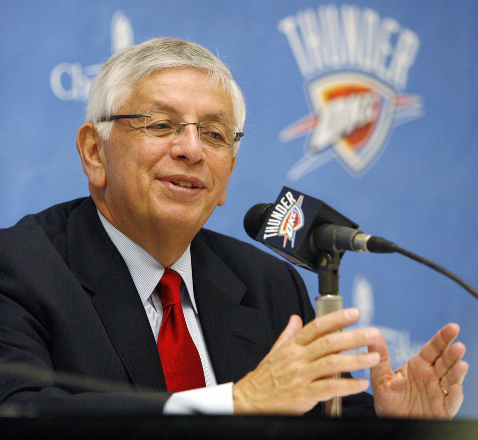 NBA commissioner David Stern speaks to the media before the NBA basketball game between the Oklahoma City Thunder and the Milwaukee Bucks at the Ford Center in Oklahoma City, Wednesday, Oct. 29, 2008. This was the regular season debut of the Thunder. BY NATE BILLINGS, THE OKLAHOMAN