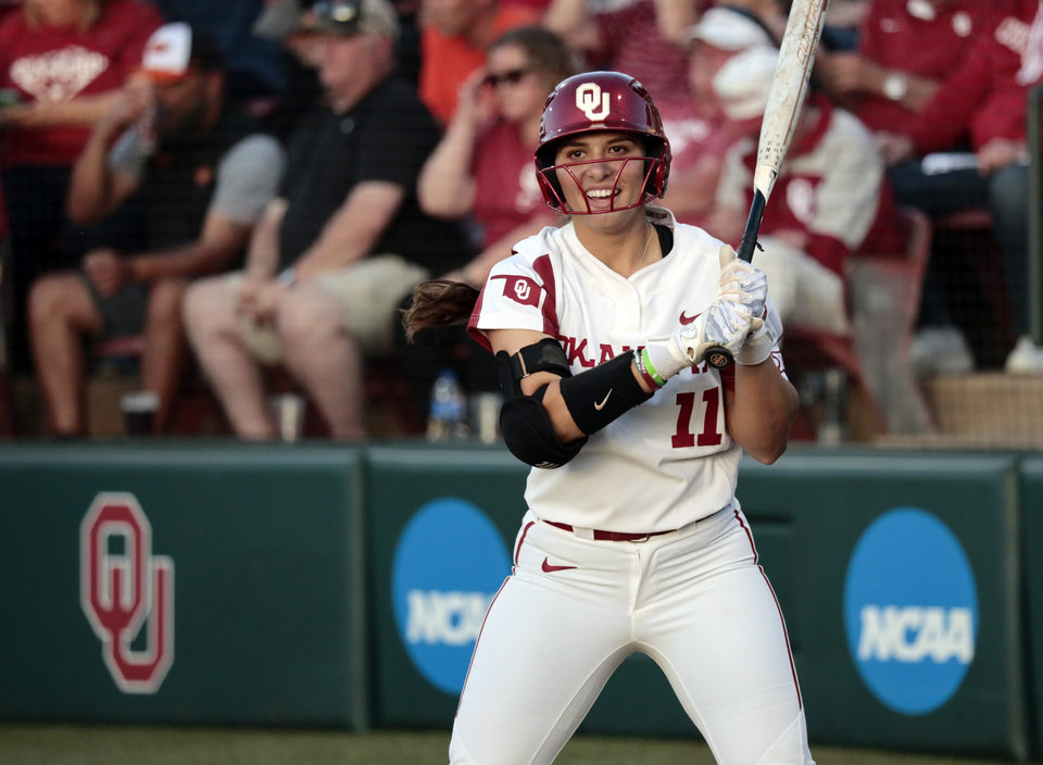 Photo - Nicole Mendes steps to the plats in Bedlam softball as the University of Oklahoma Sooners (OU) play the Oklahoma State Cowboys (OSU) at Marita Hynes Field at the OU Softball Complex on  May 4, 2019 in Norman, Okla.  [Steve Sisney/For The Oklahoman]