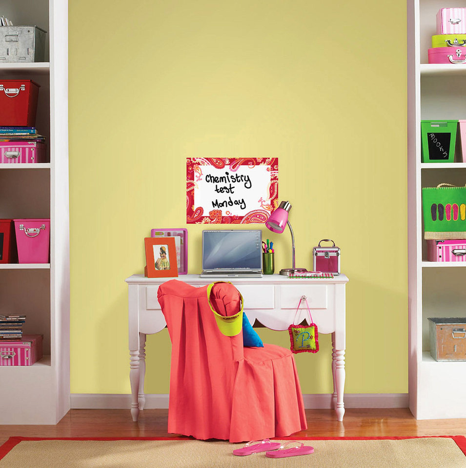 This photo provided by Brewster Home Fashions shows the WallPops dry-erase message board that can help keep a student's desk area organized. AP PHOTO/ Brewster Home Fashions