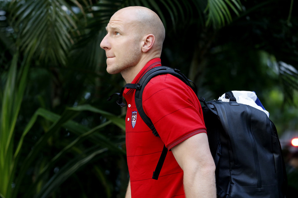 Photo - United States' goalkeeper Brad Guzan arrives at the team hotel in Sao Paulo, Brazil, Monday, June 9, 2014. The U.S. will play in group G of the 2014 soccer World Cup. (AP Photo/Julio Cortez)