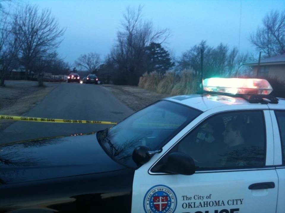 Photo - The scene near NE 69 and Laird in Oklahoma Tuesday morning where a shooting took place - Photo by Johnny Johnson