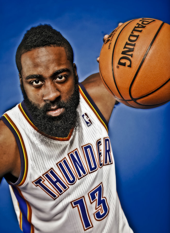 NBA BASKETBALL: James Harden during the Oklahoma City Thunder media day at the Chesapeake Energy Arena in Oklahoma City, Okla. on Tuesday, Dec. 13, 2011. Photo by Chris Landsberger, The Oklahoman