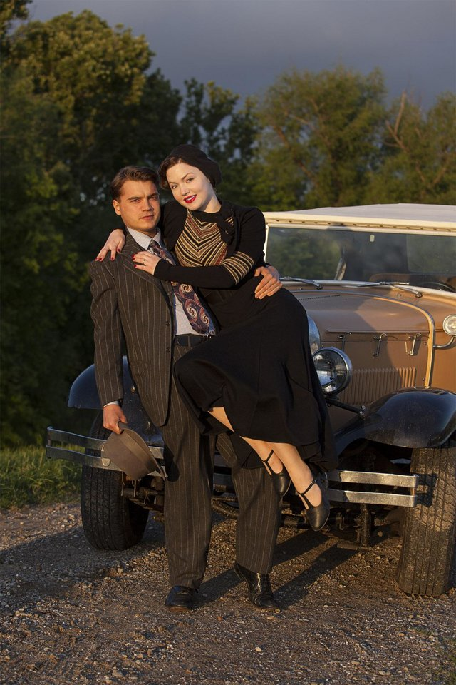"Photo -  Bonnie & Clyde (L to R) Emile Hirsch (""Clyde Barrow"") and Holliday Grainger (""Bonnie Parker"") star in the all-new miniseries, Bonnie & Clyde. Part-One premieres Sunday, December 8 at 8 p.m. followed by Part-Two on Monday, December 9, at 8 p.m. on Lifetime, History and A&E. Photo by Joseph Viles Copyright 2013"