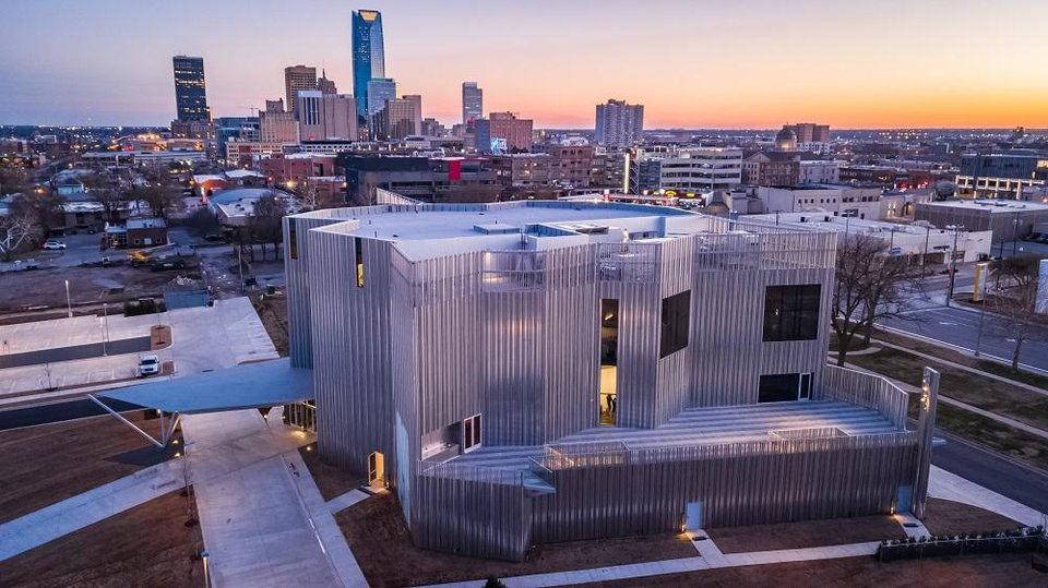 Photo - The new Oklahoma Contemporary Arts Center at NW 11 and Broadway is seen in a drone image. [Dave Morris/The Oklahoman]