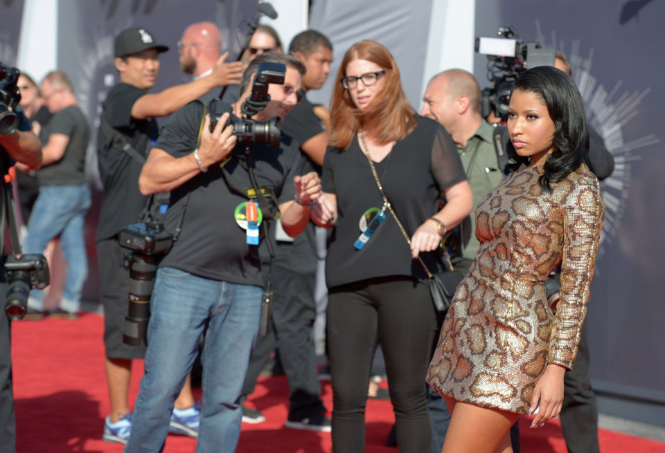 Photo - Nicki Minaj arrives at the MTV Video Music Awards at The Forum on Sunday, Aug. 24, 2014, in Inglewood, Calif. (Photo by Jordan Strauss/Invision/AP)