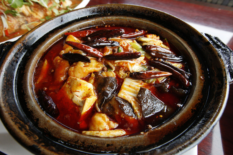 Hot & Spicy Sliced Fish in Clay Pot at Szechuan Bistro in Oklahoma City. <strong>PAUL B. SOUTHERLAND - THE OKLAHOMAN</strong>